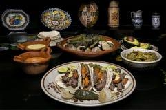 Het Mexicaanse Diner van de Rundvleestaco Stock Foto