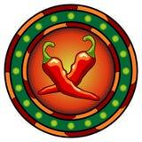 Het Mexicaanse embleem van de Spaanse peperpeper Royalty-vrije Stock Afbeeldingen