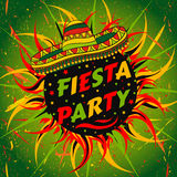 Het Mexicaanse etiket van de Fiestapartij met sombrero en confettien Hand getrokken vectorillustratieaffiche met grungeachtergron Stock Fotografie