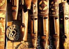 Het Mexicaanse houten masker handcrafted houten gezichten Stock Foto