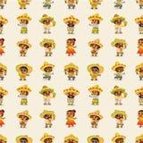 Het Mexicaanse mensen-naadloze patroon van het beeldverhaal Stock Foto