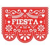 Het Mexicaanse ontwerp van Fiestapapel Picado in rood - het document van de partijslinger verwijderde met bloemen en geometrische royalty-vrije illustratie