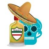 Het Mexicaanse pictogram van de tequiladrank royalty-vrije illustratie