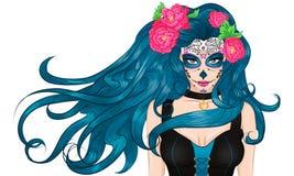 Het Mexicaanse Sugar Skull-Meisje van het make-up lange haar Stock Afbeelding