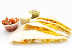 Het Mexicaanse voedsel van kippenquesadilla Stock Foto