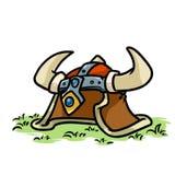 Het middeleeuwse beeldverhaal van Viking Helmet Royalty-vrije Stock Afbeelding