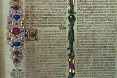Het middeleeuwse dichte omhooggaande manuscript van het boekdetail stock afbeeldingen