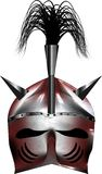 Het middeleeuwse glanzende zilver van de fantasie rode helm Stock Afbeeldingen