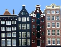 Het middeleeuwse kanaal huisvest dicht omhoog in Amsterdam  Stock Foto's