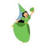 Het middeleeuwse karakter van het actricemeisje in een groene kleding en een gerichte hoed, kleurrijke Illustratie royalty-vrije illustratie