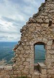 Het middeleeuwse kasteel Cathar van Peyrepertuse. Royalty-vrije Stock Fotografie