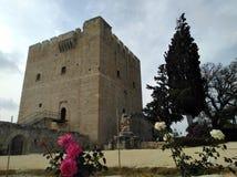 Het middeleeuwse Kolossi-Kasteel in Cyprus Limassol stock afbeelding