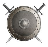 Het middeleeuwse metaalschild met gekruiste zwaarden isoleerde 3d illustratie royalty-vrije illustratie