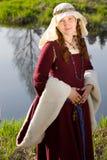 Het middeleeuwse portret van de Koningin in openlucht Royalty-vrije Stock Afbeelding
