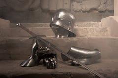 Het middeleeuwse portret van de pantserclose-up Stock Afbeeldingen