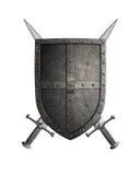 Het middeleeuwse schild van de kruisvaarderridder en twee zwaarden Stock Fotografie