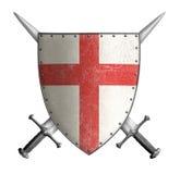 Het middeleeuwse schild van de kruisvaarderridder met dwars rood en Stock Afbeeldingen