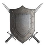 Het middeleeuwse schild van de wapenschildridder en twee zwaarden Royalty-vrije Stock Afbeeldingen