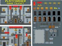 Het middeleeuwse Spel Tileset van Platformer van het Kasteelbeeldverhaal royalty-vrije illustratie