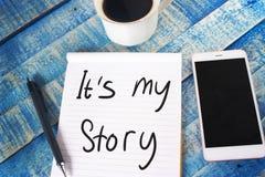 Het is Mijn Verhaal Inspirational tekst stock fotografie