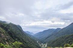 Het milieu en het ecosysteem, groene weide naast het meer met blauwe hemel en wolken royalty-vrije stock afbeeldingen