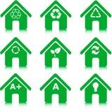 Het milieu, recycleert en energie - besparing Stock Foto's