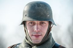 """Het militaire historische weer invoeren """"Prestatie van Alexander MatrosovÂ"""" royalty-vrije stock foto's"""