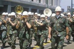 Het militaire Marcheren van de Band Stock Foto