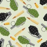 Het militaire naadloze patroon van munitie Granaat en de militaire textuur van Munitie Royalty-vrije Stock Afbeeldingen