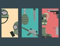 Het militaire van het de symbolenpantser van wapenkanonnen ontwerp van de kaartenkrachten en de Amerikaanse marine van de vechter stock illustratie
