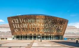 Het Millenniumcentrum van Cardiff in de Baai van Cardiff, Cardiff, Wales stock foto's