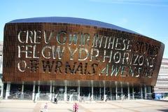 Het Millenniumcentrum van Wales, Cardiff stock foto's