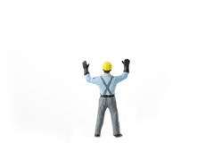 Het miniatuurconcept van de de arbeidersbouw van de menseningenieur Royalty-vrije Stock Foto's
