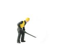 Het miniatuurconcept van de de arbeidersbouw van de menseningenieur Royalty-vrije Stock Afbeeldingen