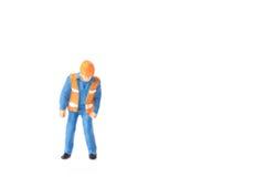 Het miniatuurconcept van de de arbeidersbouw van de menseningenieur Royalty-vrije Stock Fotografie
