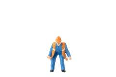 Het miniatuurconcept van de de arbeidersbouw van de menseningenieur Stock Fotografie