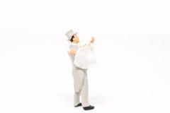 Het miniatuurpaar van het mensenhuwelijk op achtergrond met ruimte voor tex Stock Fotografie