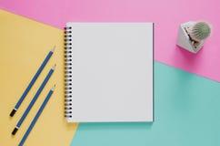 Het minimale concept van de bureauwerkplaats Leeg notitieboekje, potlood, cactus stock fotografie