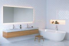 Het minimalistische binnenland van de elegantiebadkamers 3d geef terug Stock Foto