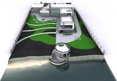 Het minimalistische moderne algemene plan van de landgoed luchtmening, het 3D teruggeven vector illustratie