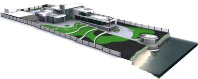Het minimalistische moderne algemene plan van de landgoed luchtmening, het 3D teruggeven stock illustratie