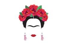 Het minimalistische portret van Frida Kahlo met oorringenhanden Stock Afbeeldingen