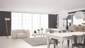 Het minimalistische witte leven en keuken, Skandinavische klassieke interi stock fotografie