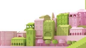 Het ministuk speelgoed Oude die roze en groen van het stadsconcept bij het witte, 3d teruggeven wordt geïsoleerd Stock Fotografie
