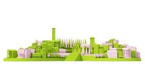Het ministuk speelgoed Oude die roze en groen van het stadsconcept bij het witte, 3d teruggeven wordt geïsoleerd Royalty-vrije Stock Foto's