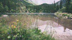 het mistige bergmeer in de zomer uitstekende retro ziet eruit Stock Foto