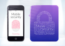 Het mobiele aftasten van de veiligheidsvingerafdruk is op moderne smartphone Royalty-vrije Stock Foto's