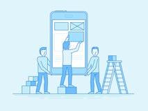 Het mobiele app ontwerp en concept van de gebruikersinterfaceontwikkeling stock illustratie