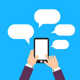Het mobiele apparaat van de gebruikersgreep, bellen Vlak Ontwerp Royalty-vrije Stock Afbeeldingen