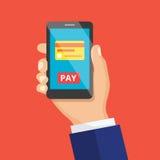 Het mobiele betalingsconcept of maakt het winkelen Vector illustrat Royalty-vrije Stock Fotografie